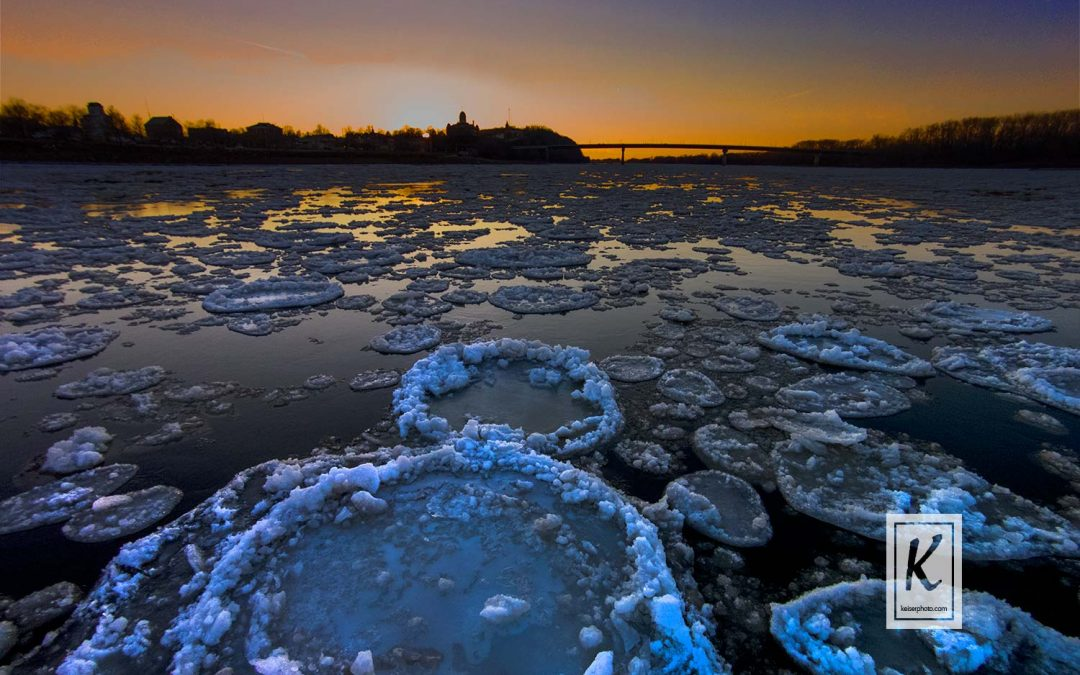 Cold Sunset on the Icy Missouri