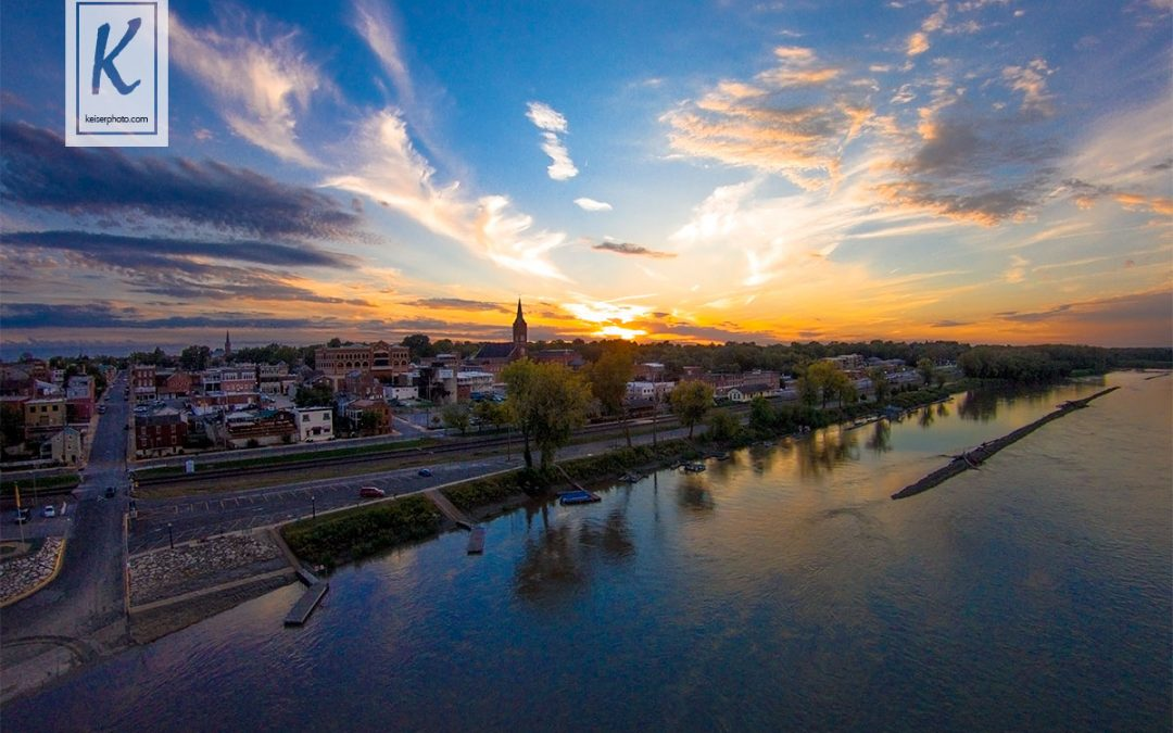 Washington, MO Riverfront at Sunset